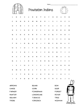 Powhatan Indians Word Search