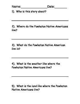 Powhatan Native American Reading Comprehension