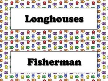Powhatan Vocabulary Strips - Native Americans - Owls Theme
