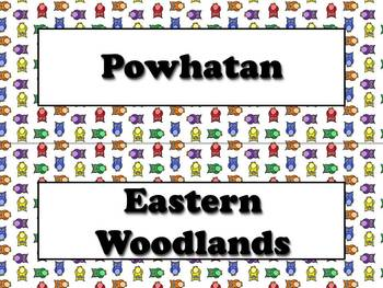 Powhatan Vocabulary Strips - Native Americans - Owls Theme