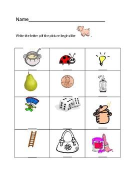 Pp Pig Homework Sheet #1