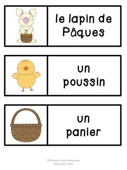 Pâques! Flashcards, word wall cards, and centre games