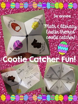 Pâques French Easter Cootie Catcher activity (math and literacy) Grade 3
