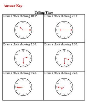 Pracket Packet on Telling Time