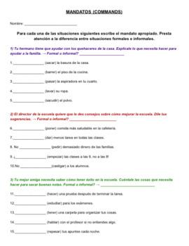 Práctica con Mandatos - Commands in Spanish
