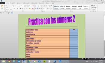 Practica con Numeros #2 (Practice with Numbers #2)