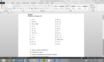 Practica Con Numeros 3 Practice With Numbers 3 By Study With Savage
