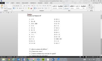 Practica con Numeros #3 (Practice with Numbers #3)