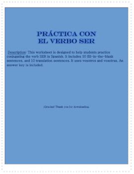 Práctica con el verbo SER