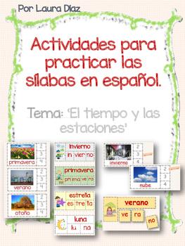Práctica con las sílabas en español- Tema: El tiempo y las estaciones