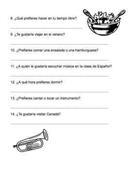 """Práctica con """"preferir"""" y """"gustaría,"""" expressing preferences - Spanish"""