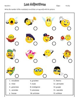 Practica de Adjectivos (with answer key)