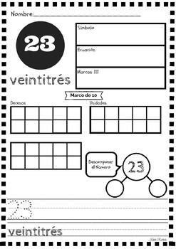 Práctica de Sentido Numérico 20-30 ~ Number Sense Practice in SPANISH 20-30!