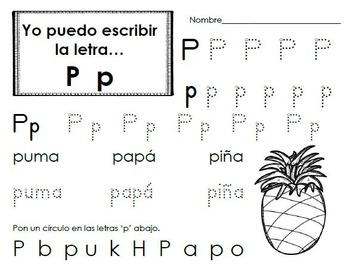 Práctica de escribir letras  del alfabeto en español (Spanish Alphabet Writing)
