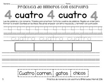 Práctica de números con escritura (uno a diez)