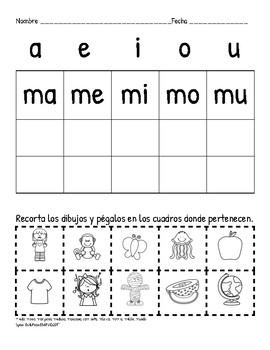 Práctica de sílabas, Syllable Practice, Kindergarten, Primer Grado, Primero