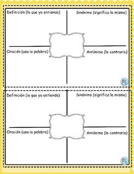 """Practica de vocabulario """"Frayer Model"""""""