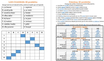 Práctica y juego de cuadros: El pretérito / Preterite practice & Squares games