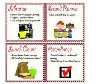 Practical Classroom Jobs with Descriptions for Elementary Classrooms