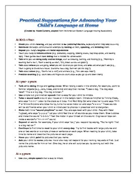 Practical Suggestions for Enhancing Your Child's Language at Home