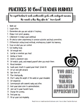 Practical Tips to Beat Teacher Burnout: A Free Reminder Printable