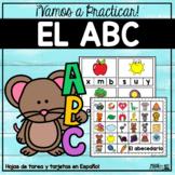 Practicamos el ABC - ALPHABET Spanish Worksheets & Clipcards
