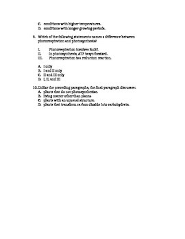 Practice ACT questions-photosynthesis