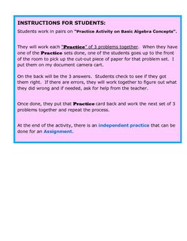 Practice Activity on Basic Algebra Concepts