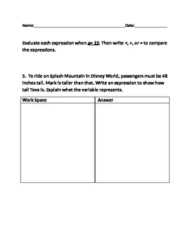 Practice Algebra Expressions with work space