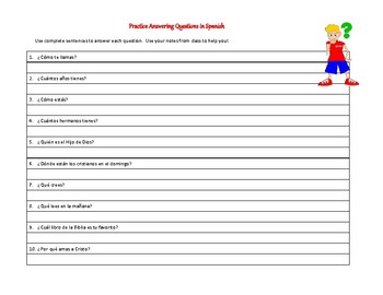 Practice Answering Questions (in Spanish) for Christian school audience
