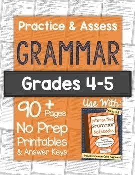 Grammar Practice Worksheets and Tests: Grades 4-5 NO PREP Printables