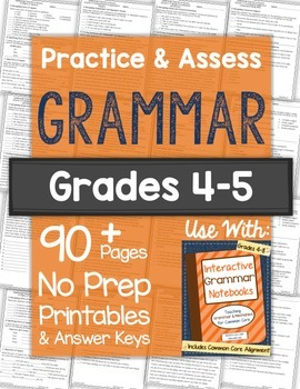 Grammar Worksheets and Tests: Grades 4-5 NO PREP Printables