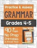 Grammar Worksheets and Tests: Grades 4-5 NO PREP Printables