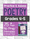 POETRY Worksheets & Tests: Practice & Assess Poetry No Prep Printables