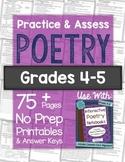 POETRY Worksheets & Tests: Practice & Assess Poetry No Prep Printables