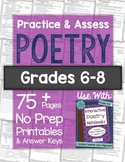 POETRY Practice and Assess: Printable NO PREP Worksheets and Tests