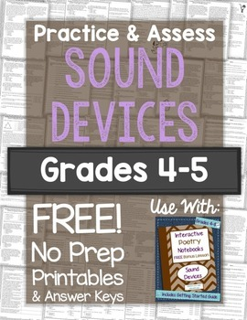 Practice & Assess POETRY: Sound Devices Freebie for Grades 4-5