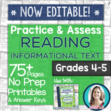 Reading INFORMATIONAL TEXT Printables: Worksheets and Tests Grades 4-5