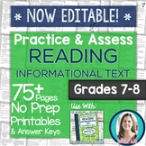 Reading INFORMATIONAL TEXT Printables: Worksheets and Tests Grades 7-8