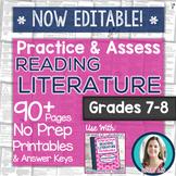 Reading Literature Printables - Worksheets and Tests Grades 7-8