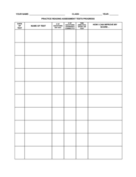 Free Practice Assessment Student Log and Answer Sheets