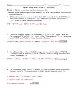 Practice Average Atomic Mass Worksheet 1 0 Answer Key By The Chem Teacher