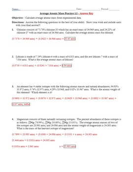 Practice Average Atomic Mass Worksheet 1 1 Answer Key By The Chem Teacher