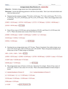 Practice Average Atomic Mass Worksheet 2 0 Answer Key By The Chem Teacher