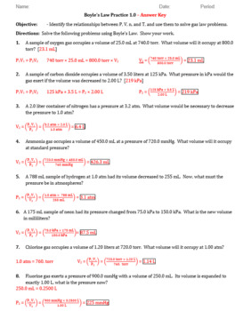 Practice - Boyle's Gas Law Worksheet 1.0 - Answer Key