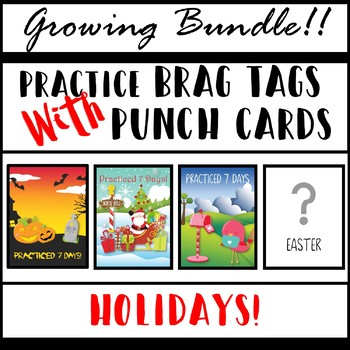 Practice Brag Tags with Punch Cards - Growing Bundle - Holidays!