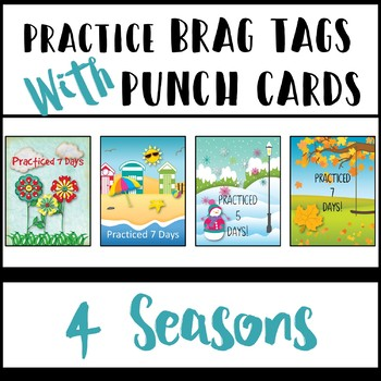 Practice Brag Tags with Punch Cards Bundle - 4 Seasons!