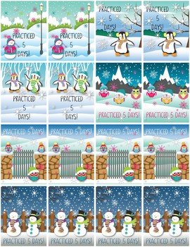 Practice Brag Tags with Punch Cards - Winter Theme