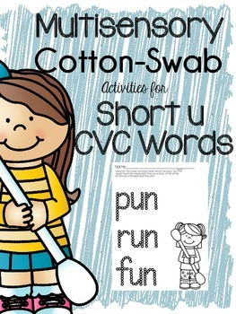 Multisensory Practice CVC {Short U} with Cotton Swabs!