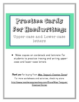 Practice Cards for Handwriting: Uppercase and Lowercase Letters